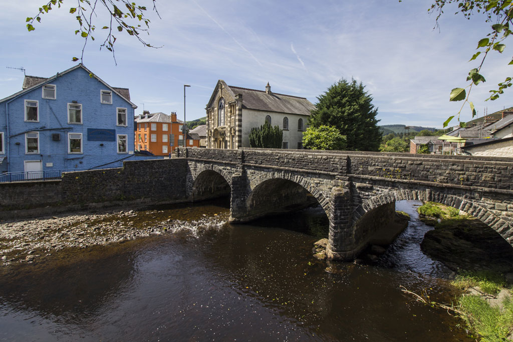 The River Irfon and town bridge at Llanwrtyd