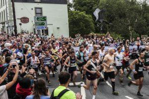 Man vs. Horse mass running start in Llanwrtyd Wells.