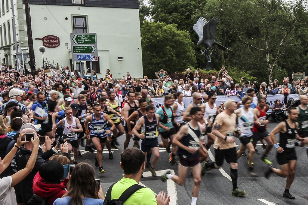 Man vs. horse mass running start in Llanwrtyd Wells
