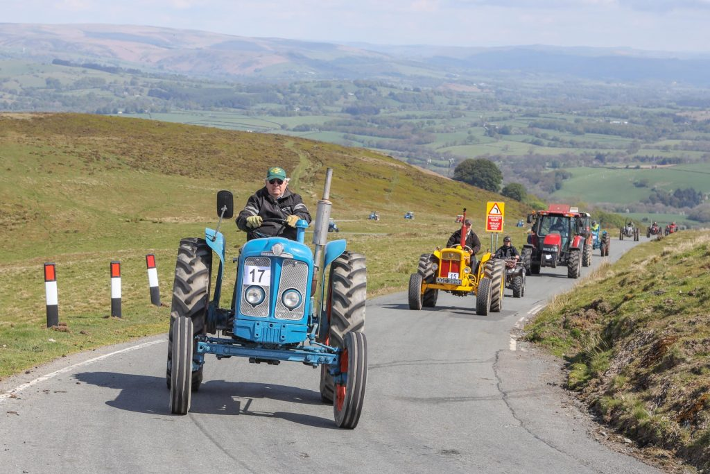 Tractors on the hill to the Epynt.
