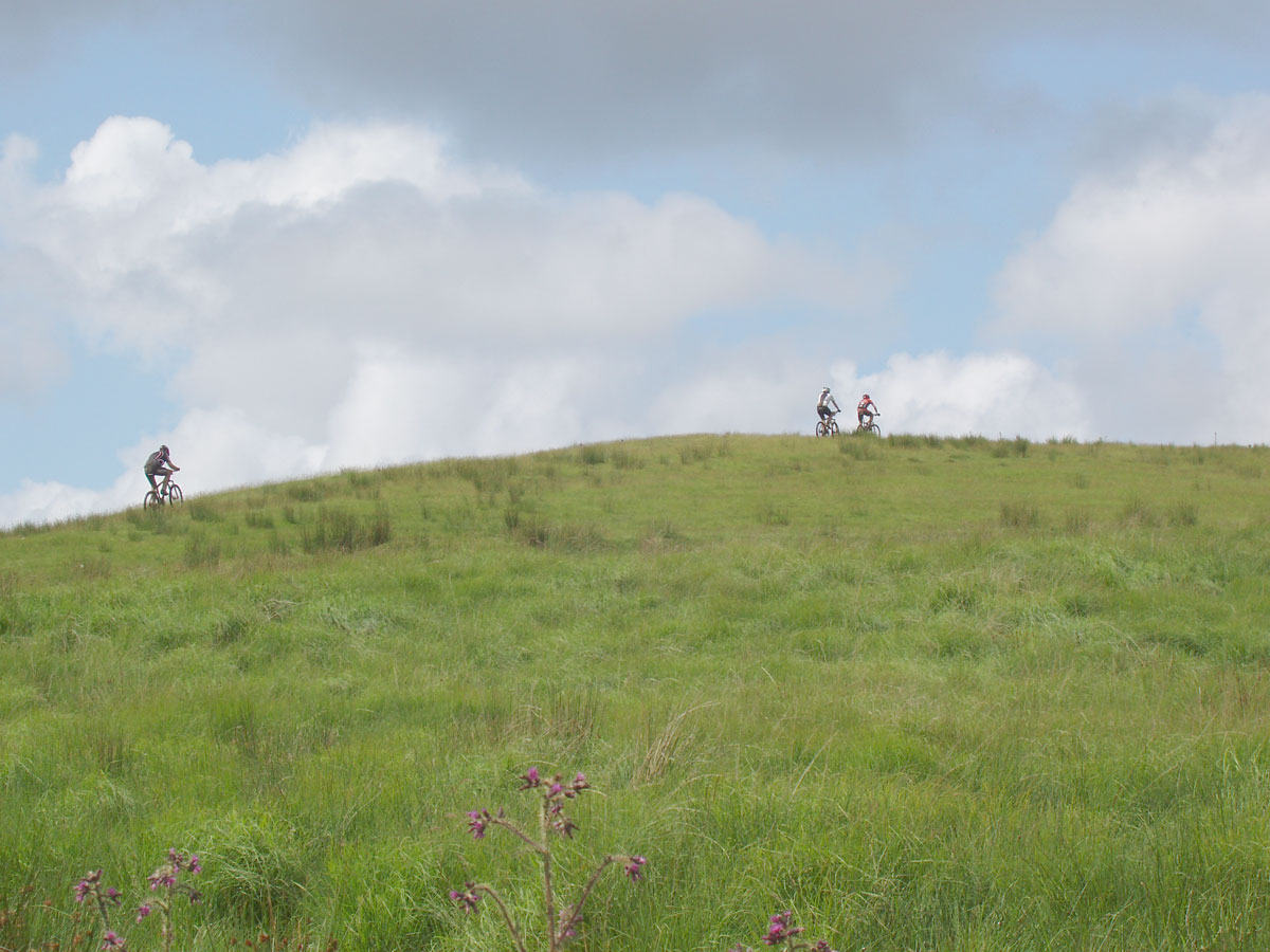 Riding up a hill near Abergwesyn