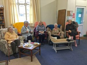Residents enjoying themselves during a drop-in at the Community Centre based at Llanwrtyd Railway Station.