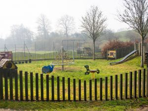 The pre-school children's play ground area at Dolwen Field, Llanwrtyd Wells