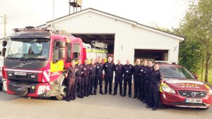 Llanwrtyd volunteer fire-fighter crew with fire engine