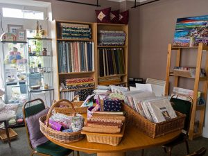 Interior of the Flying Goose textiles and books shop, Llanwrtyd Well, Powys