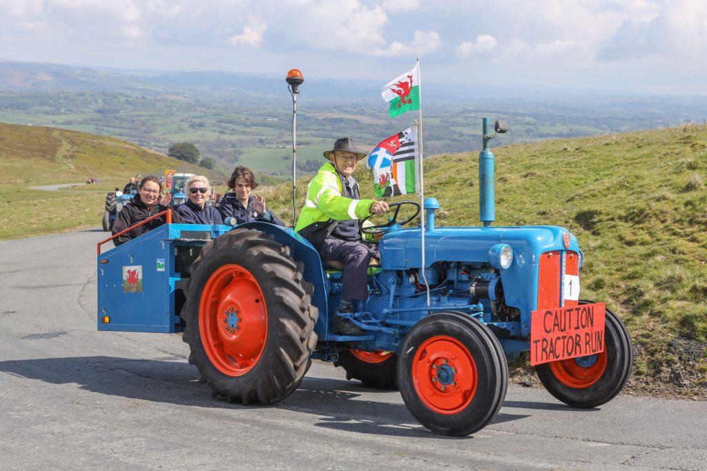 Llanwrtyd Wells Tractor run from Llanwrtyd to the Epynt range. Passengers on a tractor.