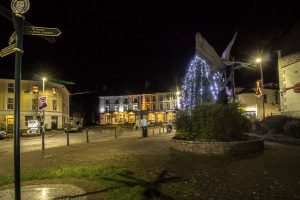 Christmas Lights and tree at Llanwrtyd Wells
