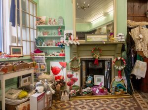 Shades of Green fabric and crafts shop interior in Llanwrtyd Wells