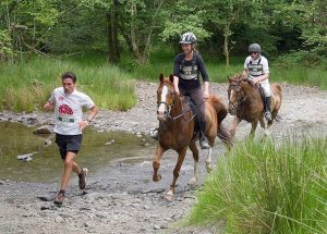 A runner followed by two horses enjoying the Man versus Horse Marathon as they cross a stream.
