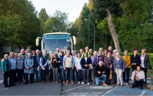 Llanwrtyd group with French friends in Mériel in 2018 before boarding coach to return home