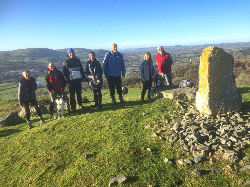 Wednesday walking group at the standing stone above Builth Wells.