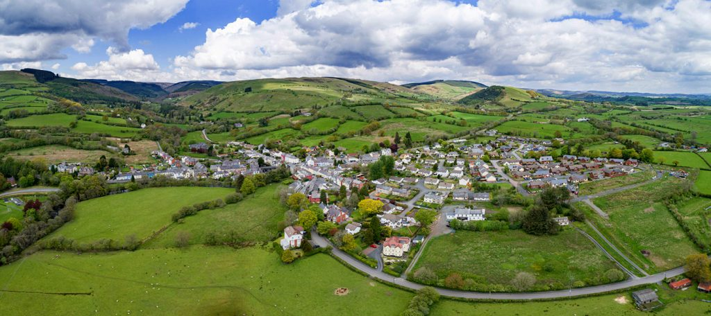 Llanwrtyd Wells town Drone Image