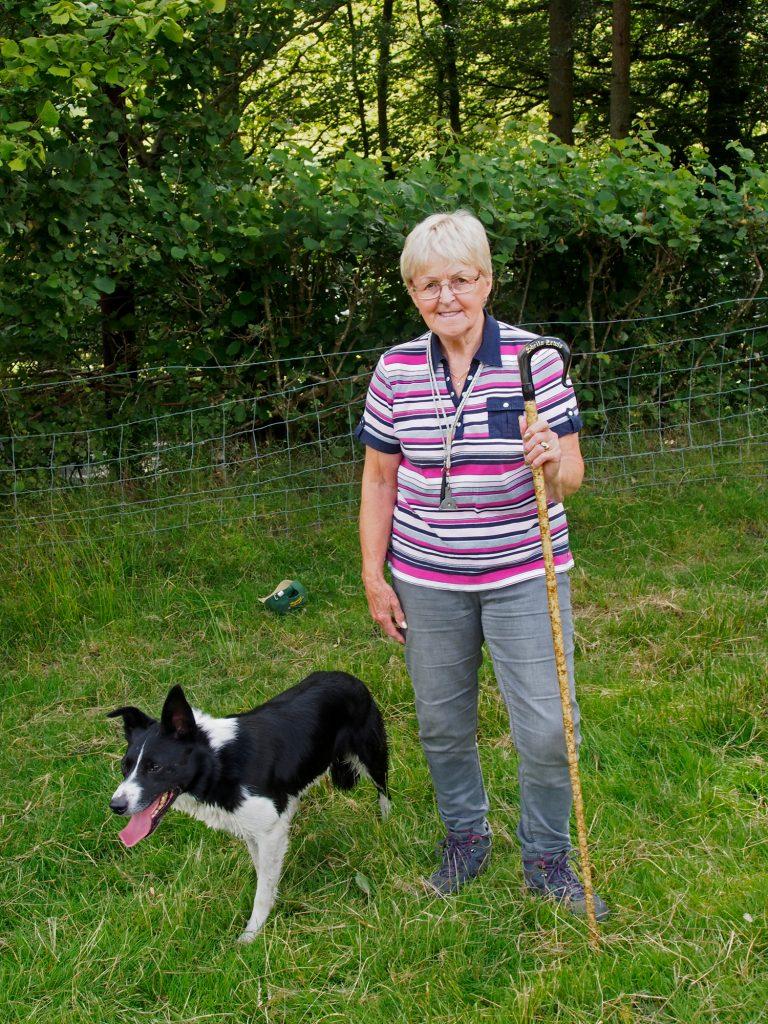 Portrait of Shepherd and dog.