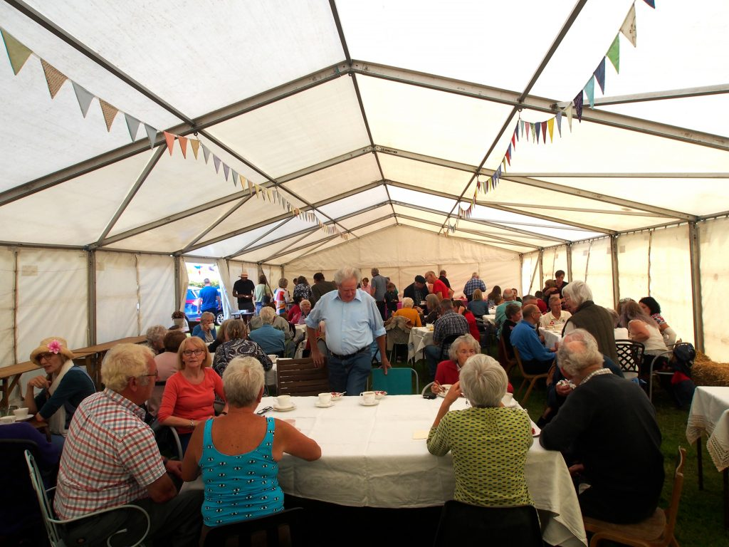 A Strawberry Tea is held in a marquee at the Llanwrtyd Show.
