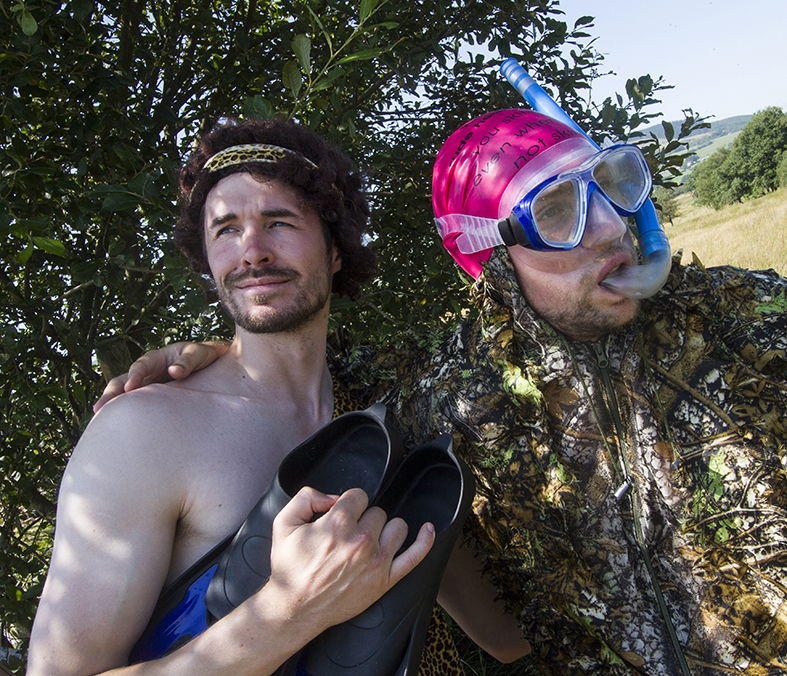 Fancy dress competitors at bog snorkelling