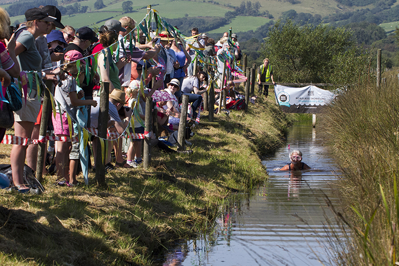 Competitors have to snorkel for 60 yards in the bog.