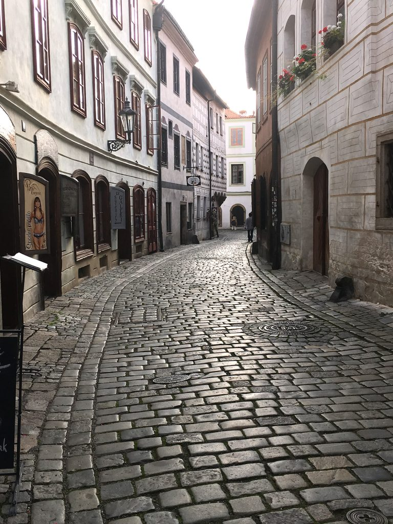 Photograph showing cobbled streets in Cesky Krumlov.