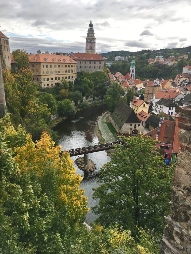 Photograph showing Cesky Krumlov and Vltava River.