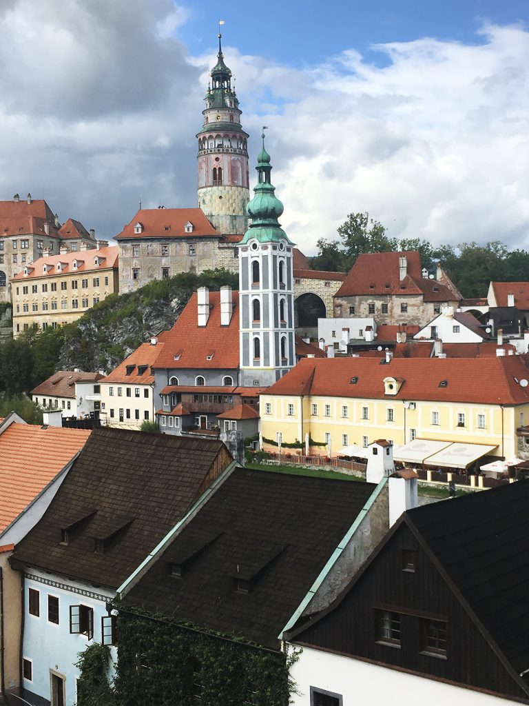 Photograph showing rooftops in Cesky Krumlov.