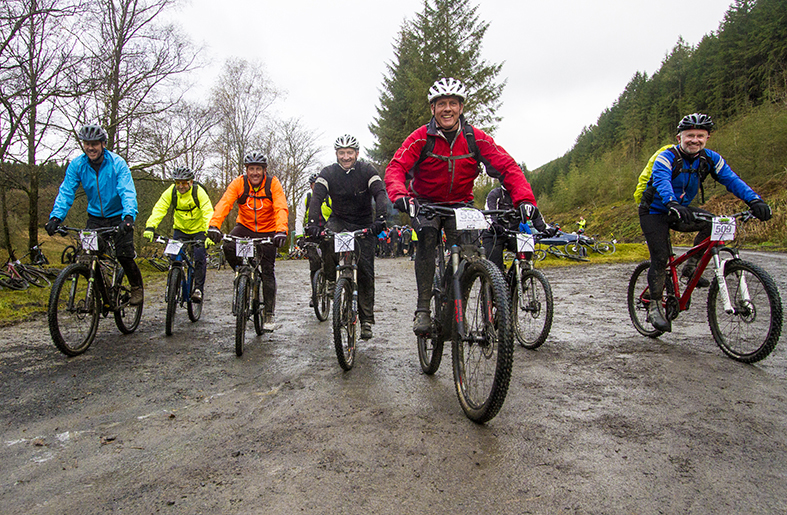 Action picture of mountain bike riders