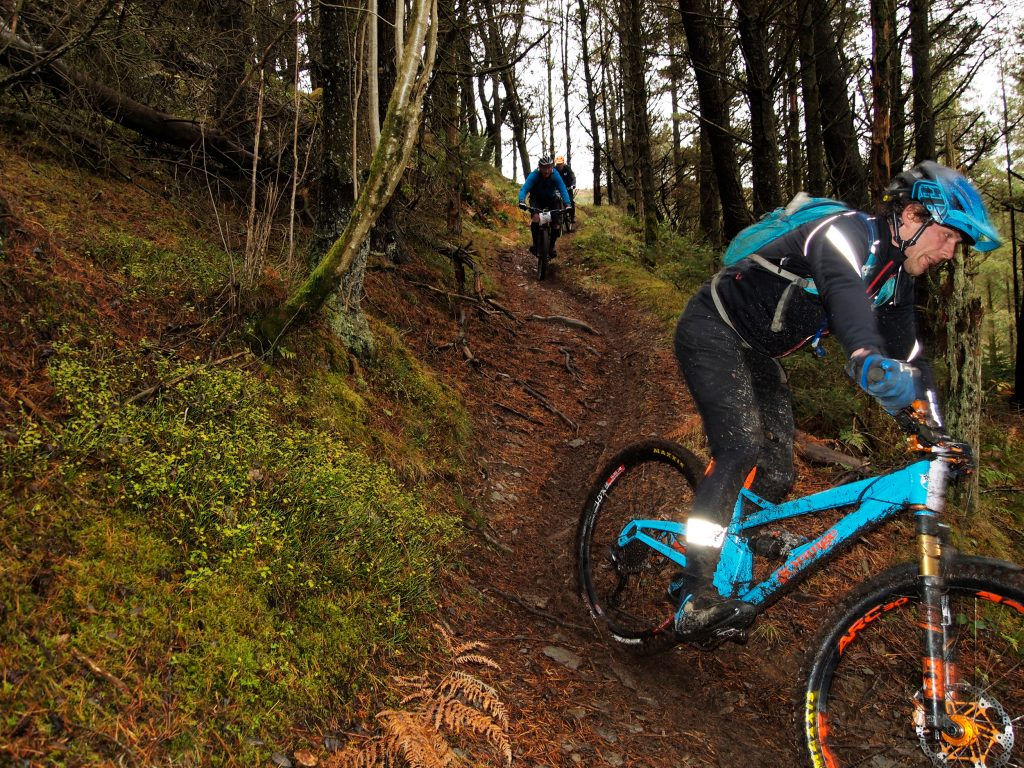Action picture of down hill mountain biking
