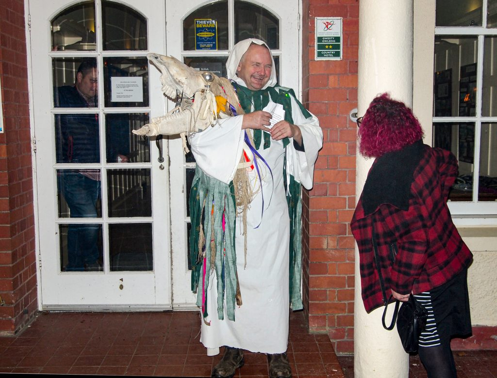 The Mari Lwyd is a horse head carried on a pole.