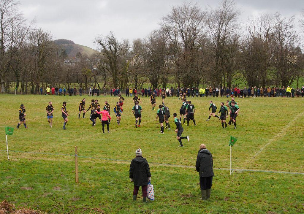 Establishing shot of Dolwen Field Rugby match