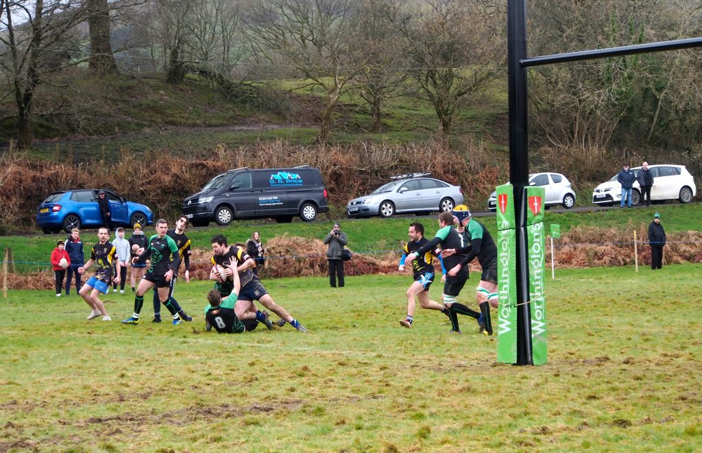 Action photograph of Rugby Match at Dolwen Field, Llanwrtyd Wells