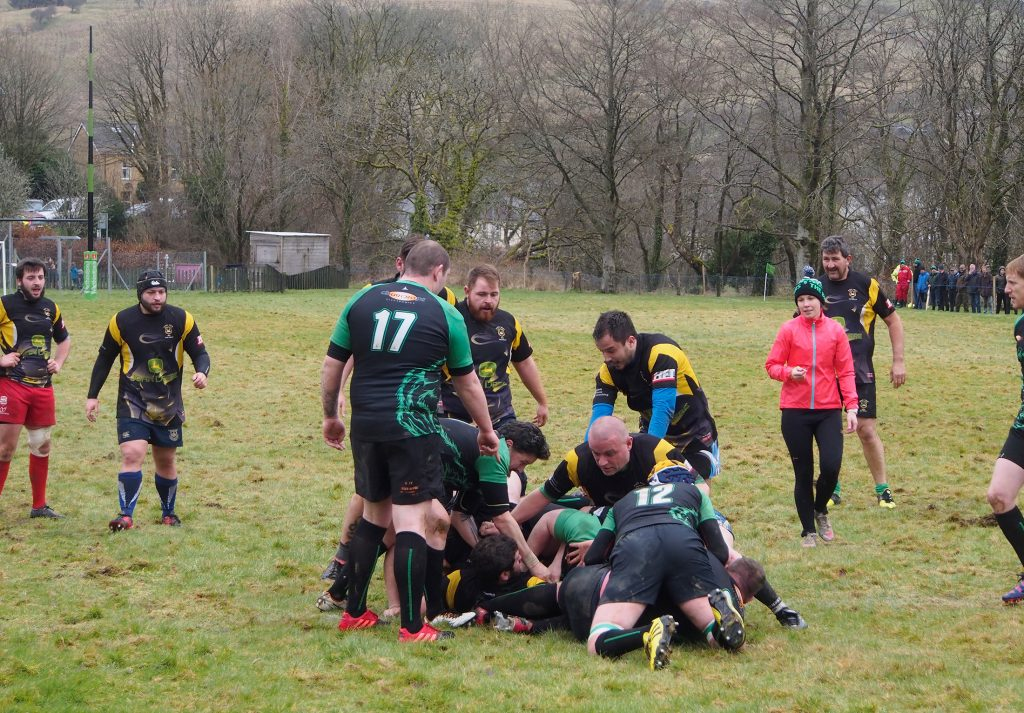 Action shot of Rugby match at Dolwen Field, Llanwrtyd Wells