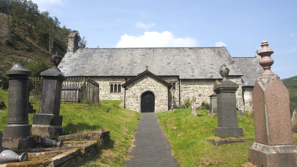 The graveyard and pathway leading to the Front door of St David's Church, Llanwrtyd.