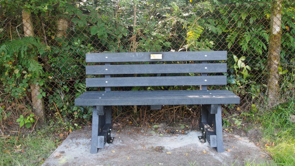 The Shane Davies Memorial Seat at St david's Church, llanwrtyd.