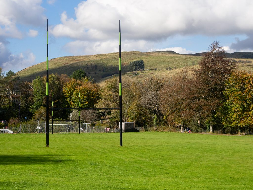 Showing Rugby field and the Garn hill.