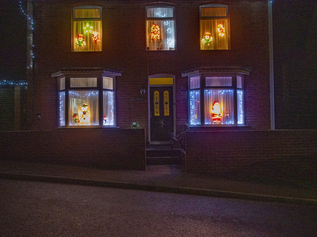 Residential house lit up for Christmas
