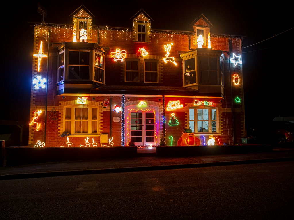 House with Christmas light on Llawrtyd