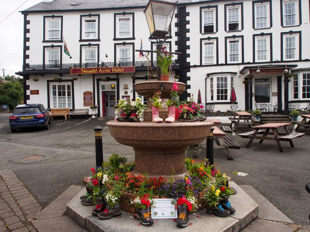 The fountain with floral display in Llanwrtyd Wells